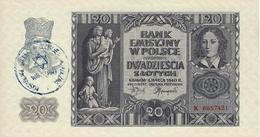 POLAND 20 ZLOTYCH 1940 BANK EMISYJNY W POLSCE (P95) UNC NAZI OCC GHETTO WARSCHAU - Poland