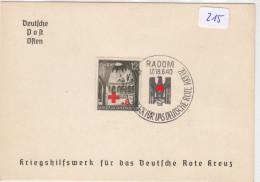 215, Phila Karte Deutsche Post Osten Radom Deutsches Rotes Kreuz 1940 ! - Guerra 1939-45