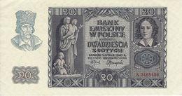 POLAND 20 ZLOTYCH 1940 BANK EMISYJNY W POLSCE P-95 XF++ NAZI OCCUPATION - Poland