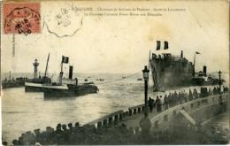 St Nazaire  Chantiers Et Ateliers De Penhoet Le Lancement Le Croiseur Cuirassé Ernest Renan Aux Estacades Voir Cachet - Saint Nazaire