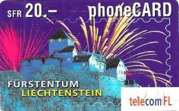 LIECHTENSTEIN 20 FR FIREWORKS OVE CASTLE EXP. 08/20034  READ DESCRIPTION !! - Liechtenstein