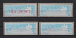 Lot 4 Vignettes Mise En Route Test Imprimante - 1990 «Oiseaux De Jubert»