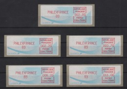 Philexfrance 89 - 5 Vignettes Valeurs Differentes - 2.00 2.20 3.70 6.20 11.00 - 1990 «Oiseaux De Jubert»