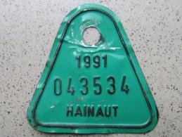 Plaque De Vélo - Hainaut 1991 - Plaques D'immatriculation