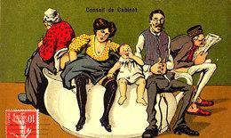HUMOUR - Jolie Carte Fantaisie Humoristique Famille Au Complet Sur Pot De Chambre - Humour