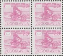 Yougoslavie 1986 Y&T 2029A Michel 2151A. Dentelé 13 1/2  Bloc De 4  Y&T 2.40 €. Facteur à Moto - Moto