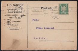 DR Karte EF Minr.356 Augsburg 10.7.24 Perfins J.G.B. - Briefe U. Dokumente