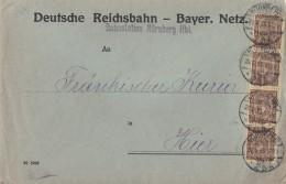 DR Ortsbrief Dienst Mef Minr.4x D33 Nürnberg Bahnstation Nürnberg Hbf. - Dienstpost