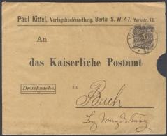 B91 DR Drucksache 1894 Krone/Adler Mit Einzelfrankatur Mi. 45 An Das Königl. Postamt Magdeburg Gitterstempel Berlin - Briefe U. Dokumente