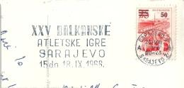YOUGOSLAVIE TP Surchargé Flamme Jeux Balkaniques Sarajevo Sur Carte Entière - 1945-1992 Socialist Federal Republic Of Yugoslavia