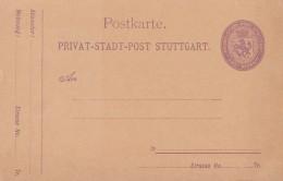 Privat-Stadt-Post-Karte Stuttgart 2 Pfennig Postfrisch - Privatpost