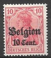 1916 German Occupation 10c On 10pf, Mint Light Hinged - WW I