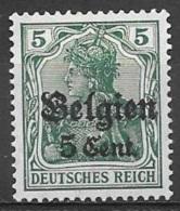 1916 German Occupation 5c On 5pf, Mint Light Hinged - WW I