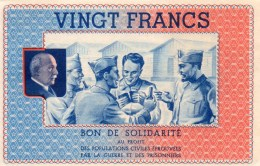 Bon De Solidarité) 20 FRANCS NUMERO:       3,469,400   NEUF 11,5x7 AU PROFIT PÖPULATION Française EPROUVEE - Otros