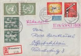 Bund R-Brief Mif Minr.219,2x 220,2x 221,Berlin 129 Hamburg 23.1.56 - BRD