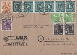 Gemeina. Brief Mif Minr.6x 923,2x 943,944,2x 946,951 Radebeul 14.7.48 - Gemeinschaftsausgaben