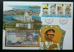 Brunei Darussalam City 1994 Building Mosque Landmark Flag Emblem FDC (banknote Cover) *rare - Brunei (1984-...)