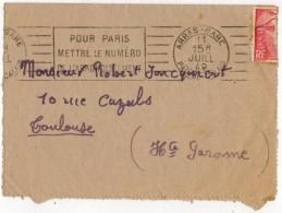 Flamme Pour PARIS Oblitération ARRAS Gare Sur Lettre Circulée Vers TOULOUSE (3 Scans) - Marcophilie (Lettres)