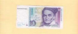 Banknote. Zehn Deutsche Mark. 1993 - - [ 7] 1949-… : FRG - Fed. Rep. Of Germany