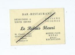 Carte De Visite    -   Quevauvillers -  Le Relais Fleuri  -  Bar-Restaurant - Visitekaartjes