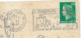 Belle Varieté Cachet à Date à L´envers Sur Flamme Villeneuve Loubet 1970 Cpsm 06 La Cueillette Du Mimosa17 - Variedades Y Curiosidades