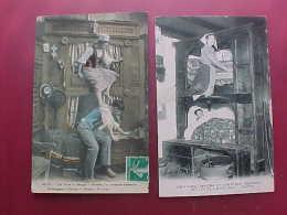 Lot De 2 Cpa BRETAGNE , LIT CLOS A ETAGE , COUPLE BRETON , 1910  Recto Verso Prix Fixe - Europe