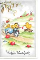 Poussin, Chick, Küken, Easter Eggs, Oeufs De Pâques, Motor Race, Motorcycle With Sidecar, Motorrad Mit Beiwagen - Easter