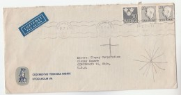 1954 Air Mail SWEDEN Stamps COVER Illus ADVERT CEDERROTHS TEKNISKA FABRIK To USA, Airmail Label - Sweden