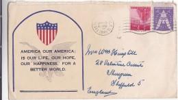 1945 USA Illus PATRIOTIC COVER San Francisco To GB Stamps - United States