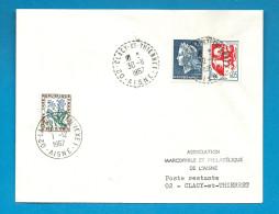 Aisne - CLACY ET THIERRET (type B9) Remplacé Par LAON RP ANNEXE 1. Premier Jour Et Dernier Jour. 1967 - Postmark Collection (Covers)