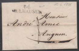 """MULHOUSE - ALSACE / 1825 MP SUR LAC """"66 / MULHAUSEN"""" POUR AVIGNON / COTE  55 € (ref 2487) - Elsass-Lothringen"""