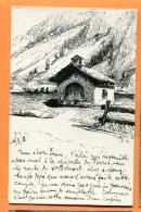 FAW-02 Chapelle De Ferret, Dessin. Cachet 1912 Vers Bienne. - VS Valais