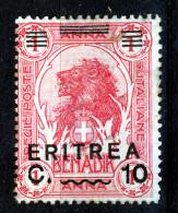 ERITREA  1922  10 C On  1 Anna  MH            LION - Eritrea