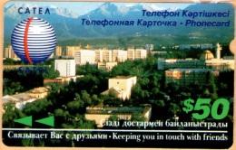 Kazakhstan - KAZ-MS-04, Alcatel, Satel, Panoramic View, 50 $, Used As Scan
