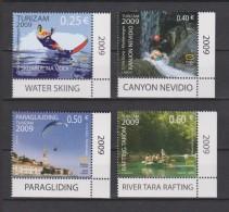 Montenegro Mi 210-213 Tourism - Water Skiing - Rafting - Paragliding - Water Sports - 2009 - Montenegro