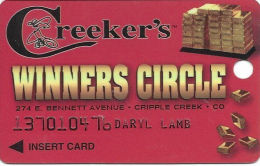 Creeker´s Casino Cripple Creek, CO - 1st Issue Slot Card - Logo On Back - Embossed Player Info - Casino Cards