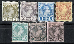 MONACO  1885  PRINCE CHARLES III   1-2-5-10-25-40-75. CAT.VALUE € 1890.00  MH  Or MH NO GUM - Monaco