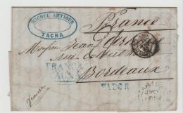 Per053 / Brief, Tacna  1852 Via Arica Nach Bordeaux Mit 2-Zeiler Franca + Vapor In Blau - Peru