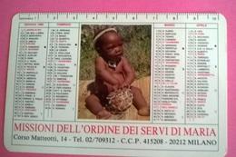 CALENDARIETTO 1989  MISSIONI DELL'ORDINE DEI SERVI DI MARIA - Calendari