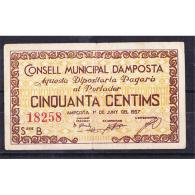 TGNBYMA6203-LBTBIMGC0166-C.BILLETES DE TARRAGONA DE LA GUERRA CIVIL. 50 CENTIMOS 1937. AYUNTAMIENTO DE AMPOSTA - [ 2] 1931-1936 : República