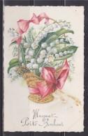 """= Carte Postale Composition Corbeille D'un Bouquet De Muguet Avec Ruban Pour Le 1er Mai """"Muguet Porte Bonheur"""" - Autres"""