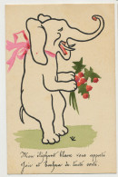 White Elephant Royal Symbol Art Card Humanized Elephant 1913 To Villa Dracéna Mont Boron Nice France - Tailandia