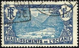 POLYNESIE FRANCAISE LANDSCAPE BLUE 1.50 FRANCS STAMP ISSUED1930's(?)SG62 USED READ DESCRIPTION !! - Polynésie Française