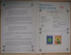 PAKISTAN 1983 MNH VERY RARE BROCHURE LEAFLET 36TH INDEPENDENCE DAY FLORAL DESING ARCH MAP PAKISTAN - Pakistan