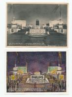 832/23 -  LAMPES / ECLAIRAGE - Belgique 2 Cartes Publicitaires 1935 - Pavillons PHILIPS à L' EXPO De Bruxelles - Timbres