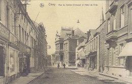 Ciney - Rue Du Centre Et Hôtel De Ville (animée, Boucherie,1913) - Ciney