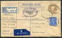 1946 GB Uprated Registered Letter London - Fraubrunnen, Bern, Switzerland - Interi Postali