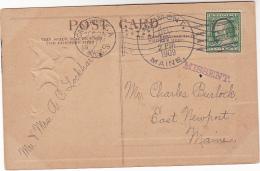 1909 USA Stamps COVER (postcard) ´ MISSENT ´ Cachet Pmk DIXMONT MAINE, CAMEBRIDGE MASS FLAG Cancel Pmk United States - United States