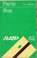 PLAN RATP AUTOBUS  Paris 1982 - Europe