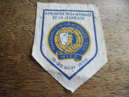 Fanion Rencontre Internationale De La Jeunesse à Nice De Aout 1950 - Scoutisme